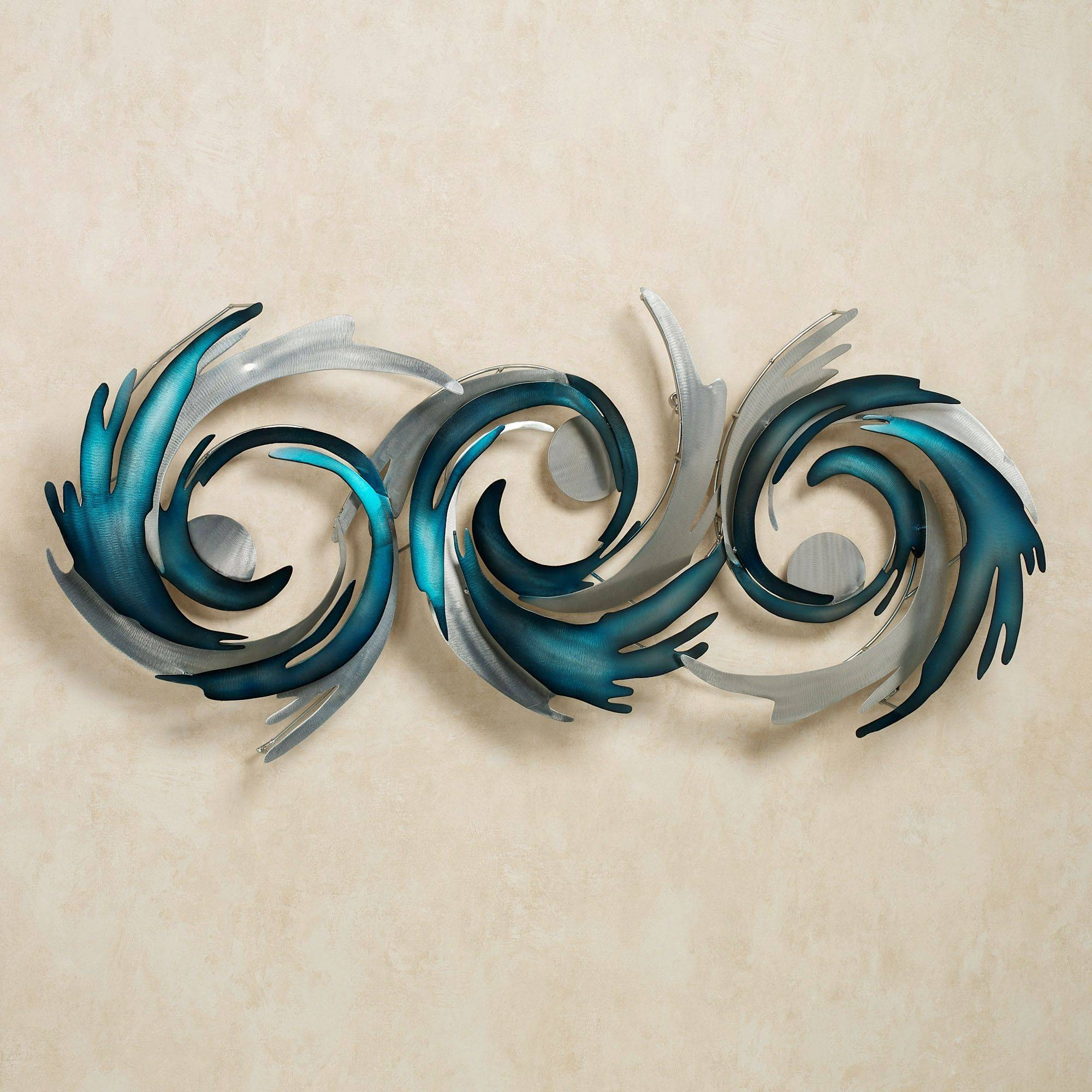 Beautiful Wall Ideas Blue Synchronicity Xl Large Blue Brown Metal With Current Blue And Silver Wall Art (View 5 of 20)