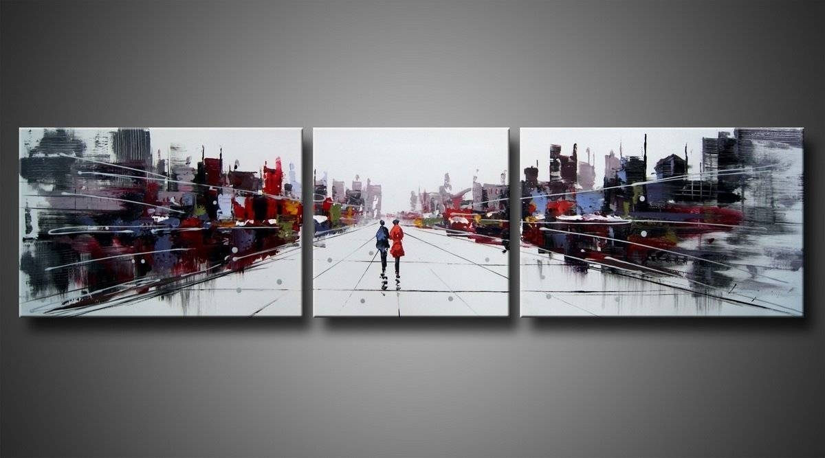 Beauty City Street Landscape Oil Painting Wall Art With Stretched For Newest Oil Painting Wall Art On Canvas (View 17 of 20)