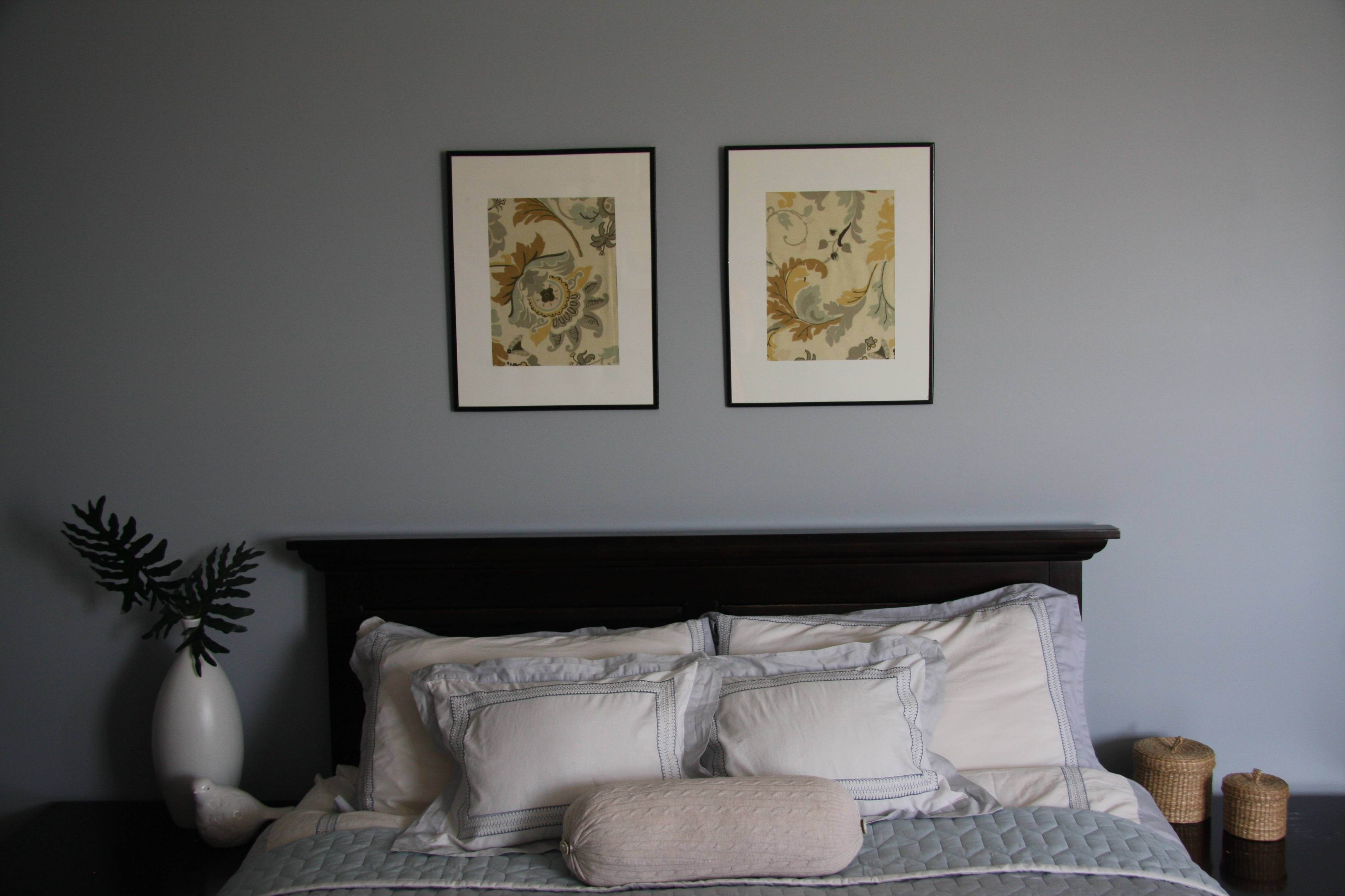 Bedroom: Bedroom With Gray Palette And Double Framed Floral In Newest Bedroom Framed Wall Art (View 7 of 20)