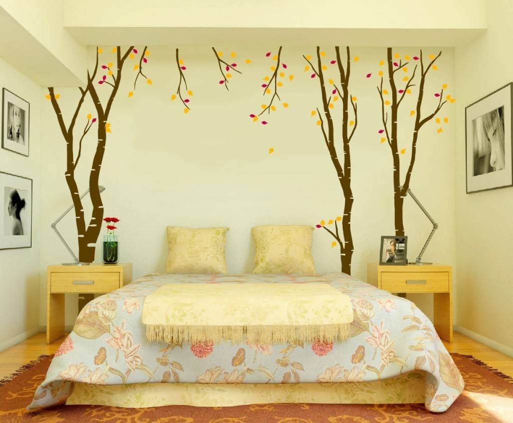 Bedroom: Endearing Image Of Bedroom Decoration Using Arranged Regarding Latest Bed Wall Art (View 11 of 25)