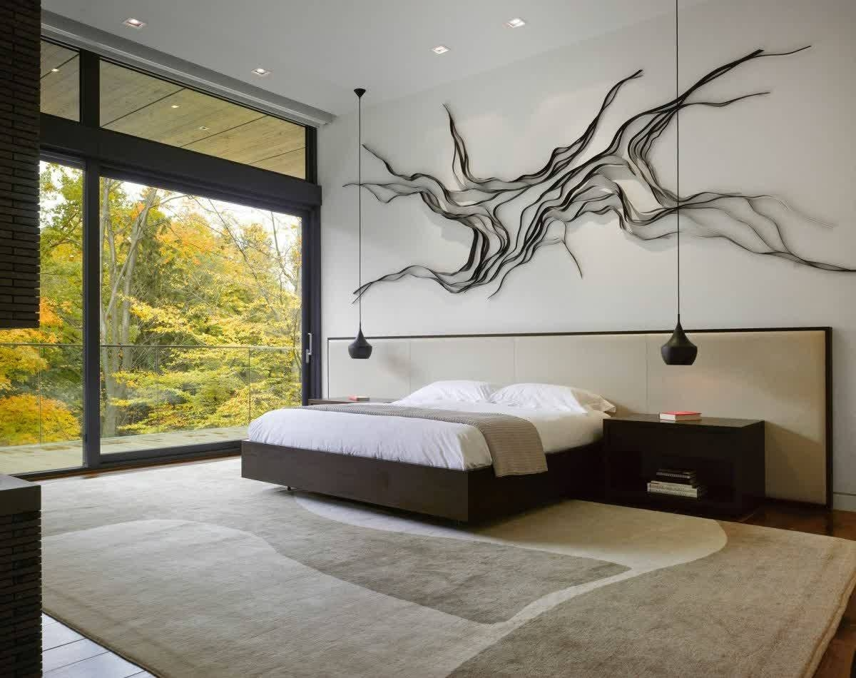 Bedroom: Spacious Modern Bedroom With Entire Wall Window And Also Within Most Up To Date Bedroom Wall Art (View 10 of 25)