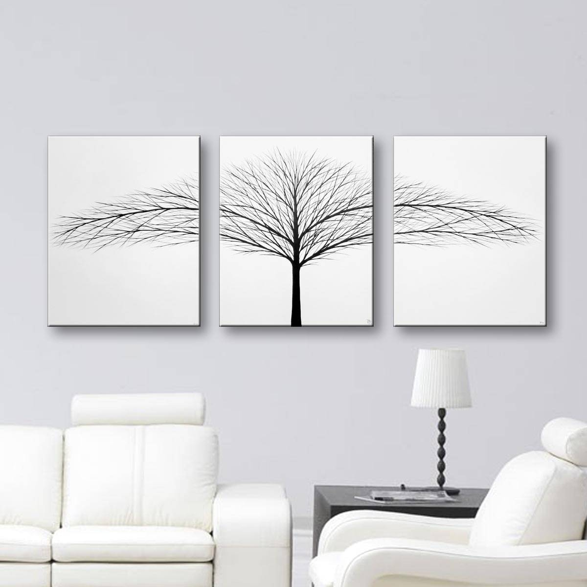 Bedroom Wall Decor 3 Piece Wall Art Canvas Art Minimalist Within 2017 Painted Trees Wall Art (View 2 of 20)