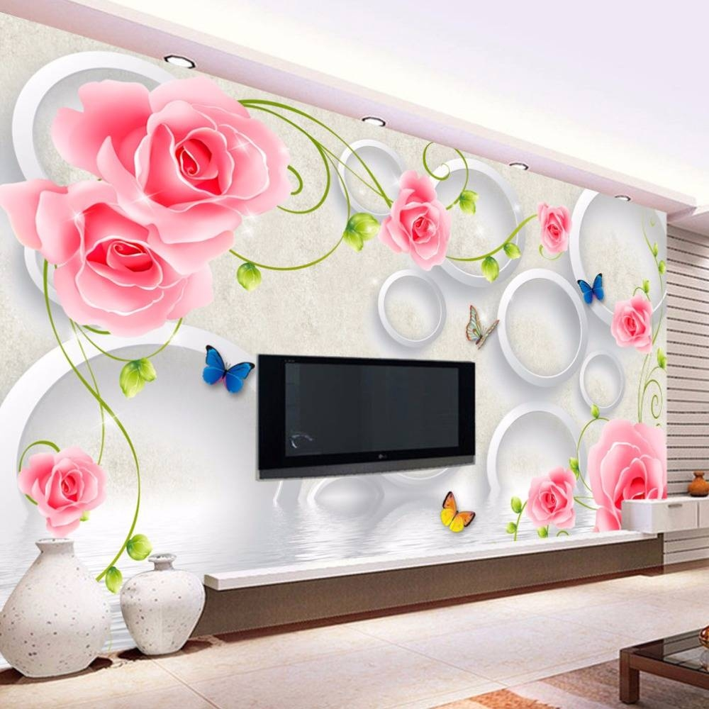 Beibehang Custom Photo Wall Paper 3D Wall Murals Wallpaper Modern Within Current Flowers 3D Wall Art (View 7 of 20)
