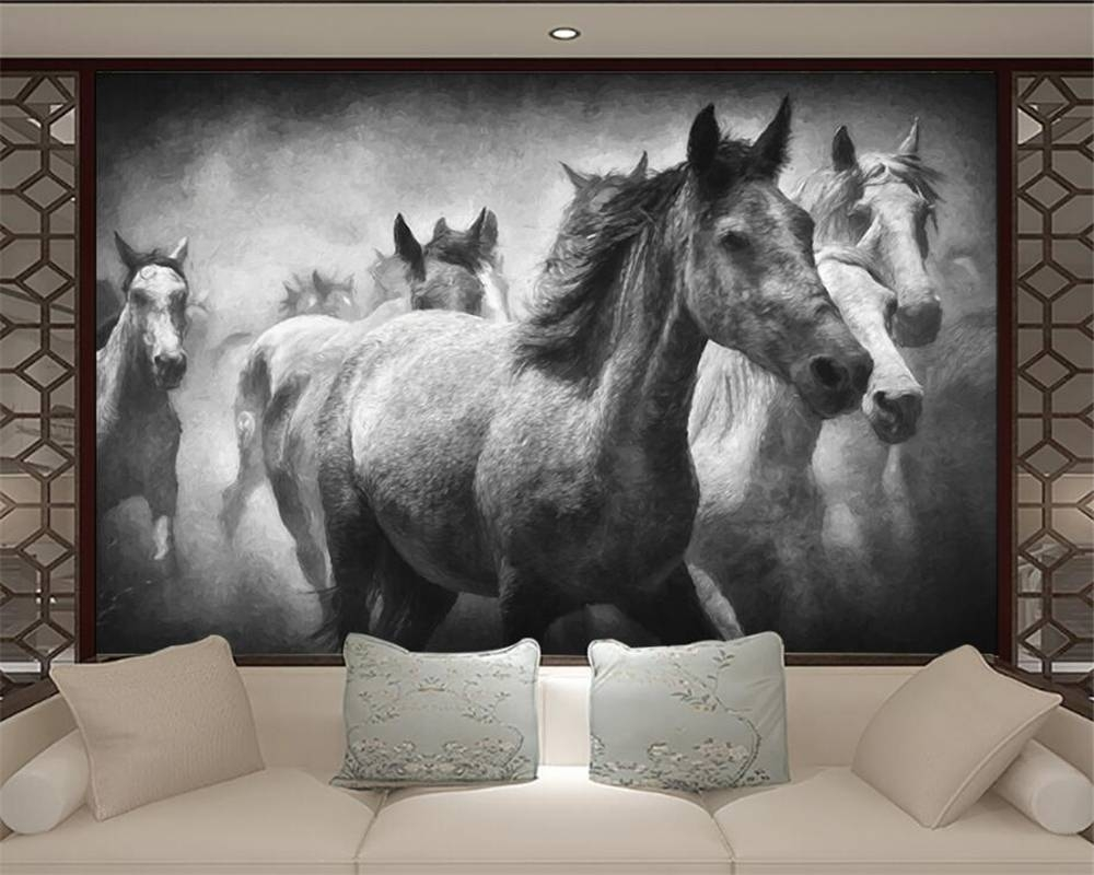 Beibehang European 3d Wallpaper Flying Horse Black And White For Most Current 3d Horse Wall Art (View 10 of 20)