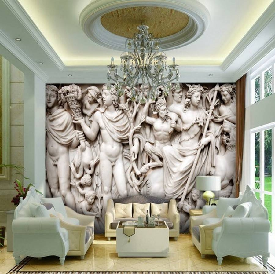 Beibehang Mural 3D Wall Paper European Sculpture Like Retro Art With Regard To Best And Newest 3D Wall Art For Living Room (View 7 of 20)
