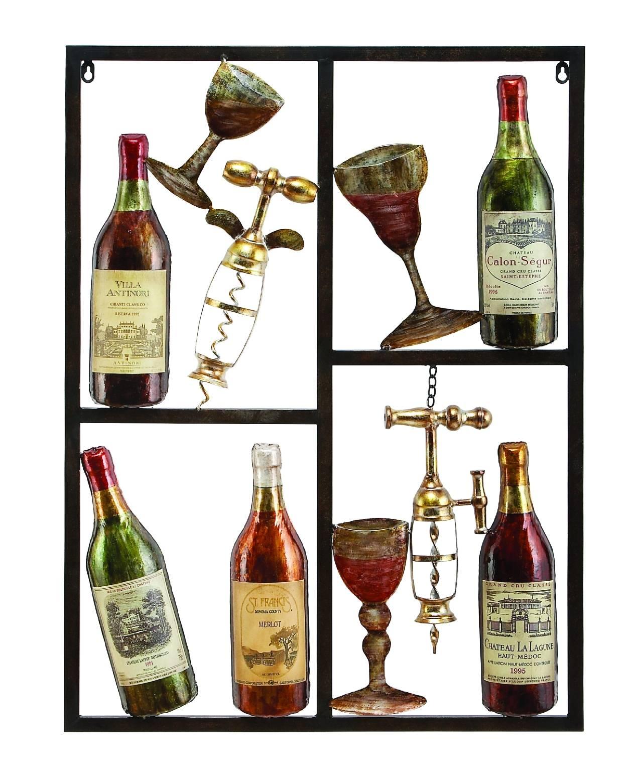 Benzara 13866 Benzara 13866 Wine Time Wine Metal Wall Art Decor Regarding Best And Newest Wine Metal Wall Art (View 1 of 20)