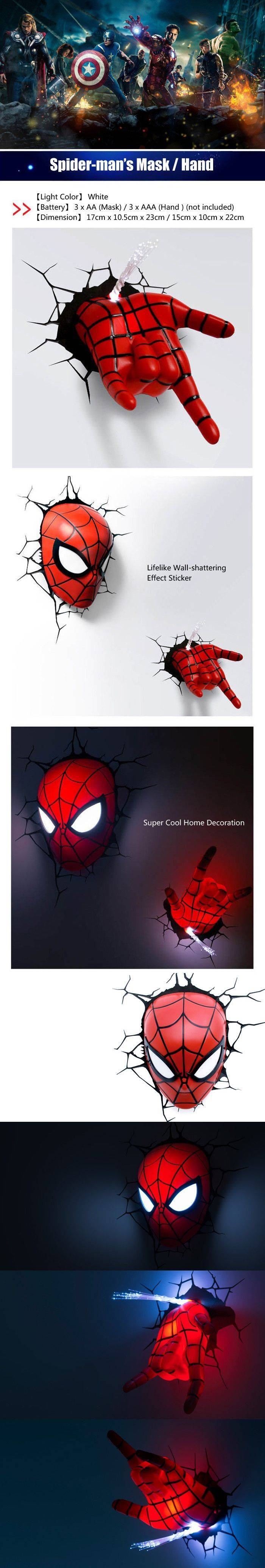 Best 25+ Avengers Wall Lights Ideas On Pinterest | Avengers Boys Inside Most Recent 3D Wall Art Night Light Spiderman Hand (View 8 of 20)