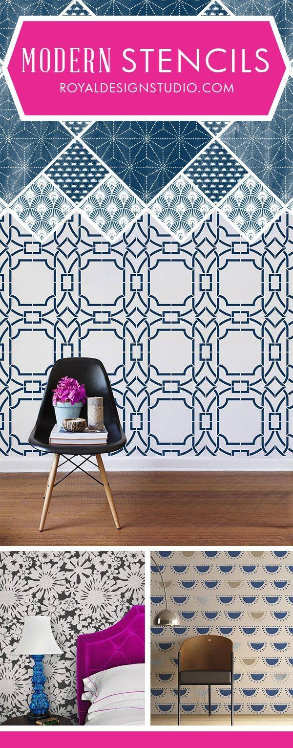 Best 25+ Stencil Walls Ideas On Pinterest | Diy Stenciled Walls Intended For Best And Newest Space Stencils For Walls (View 18 of 20)