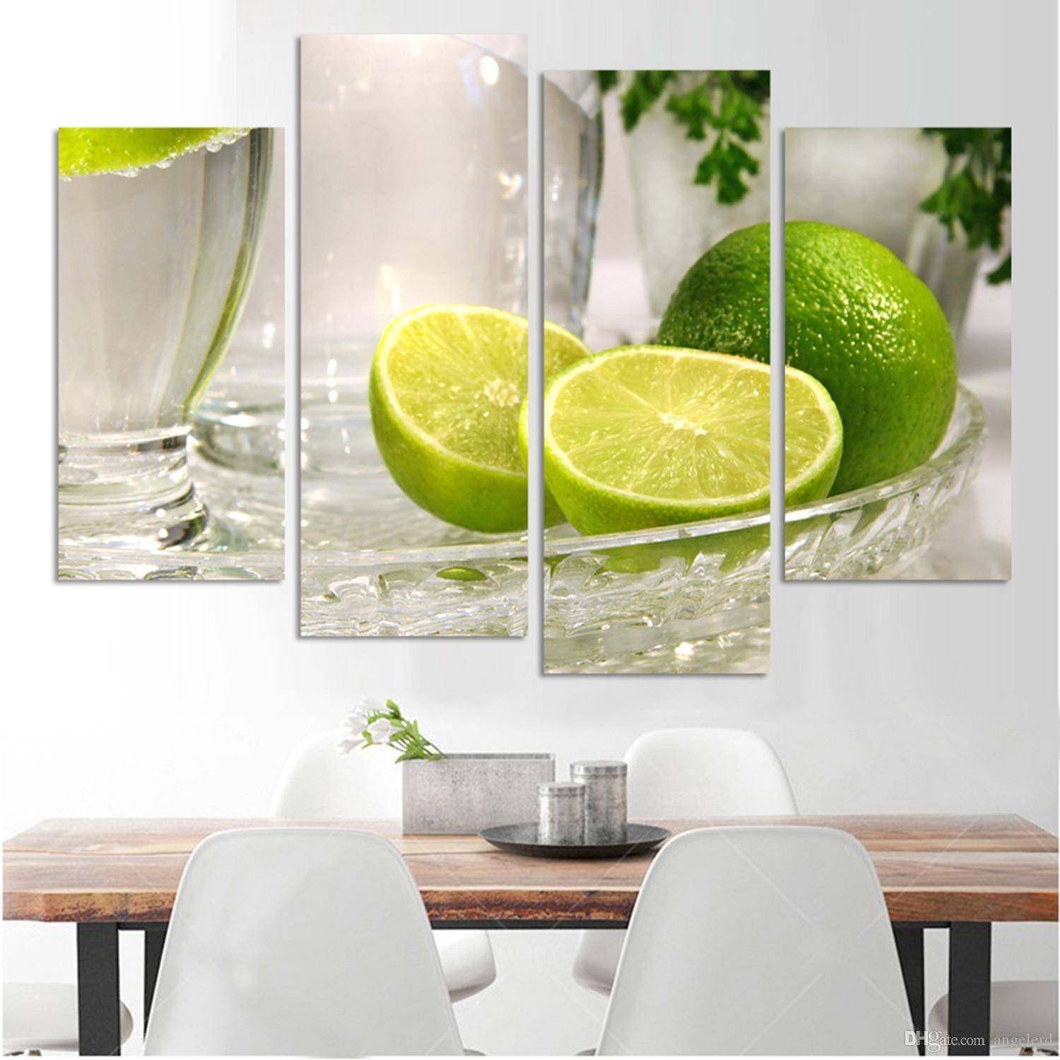 Best 4 Panels Lemon Fruit Green Canvas Painting Modern Wall With Regard To Most Popular Green Canvas Wall Art (View 6 of 20)
