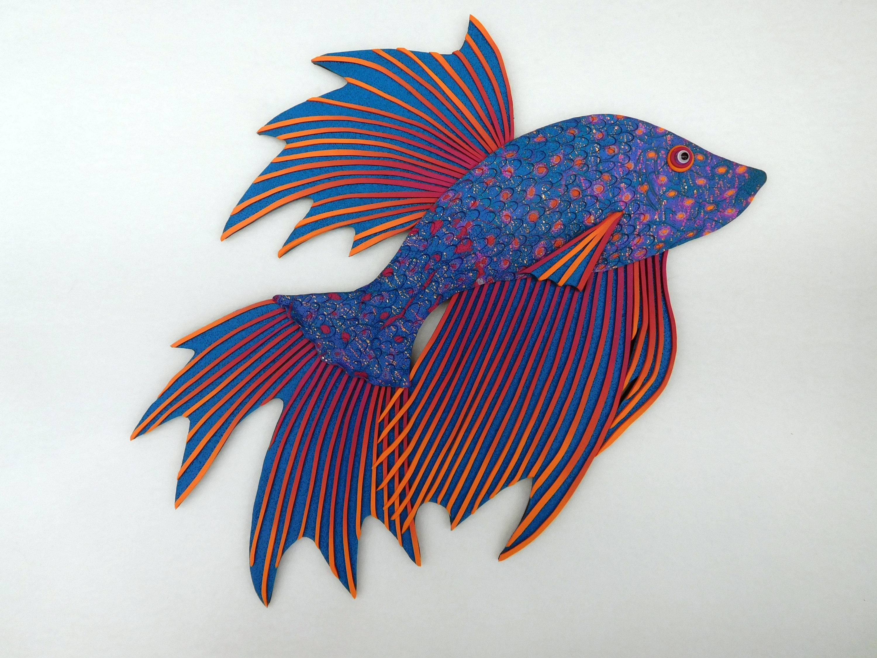 Betta Fighting Fish Polymer Clay Wall Art 3D In Rainbow Colors Regarding 2017 Polymer Clay Wall Art (View 5 of 20)