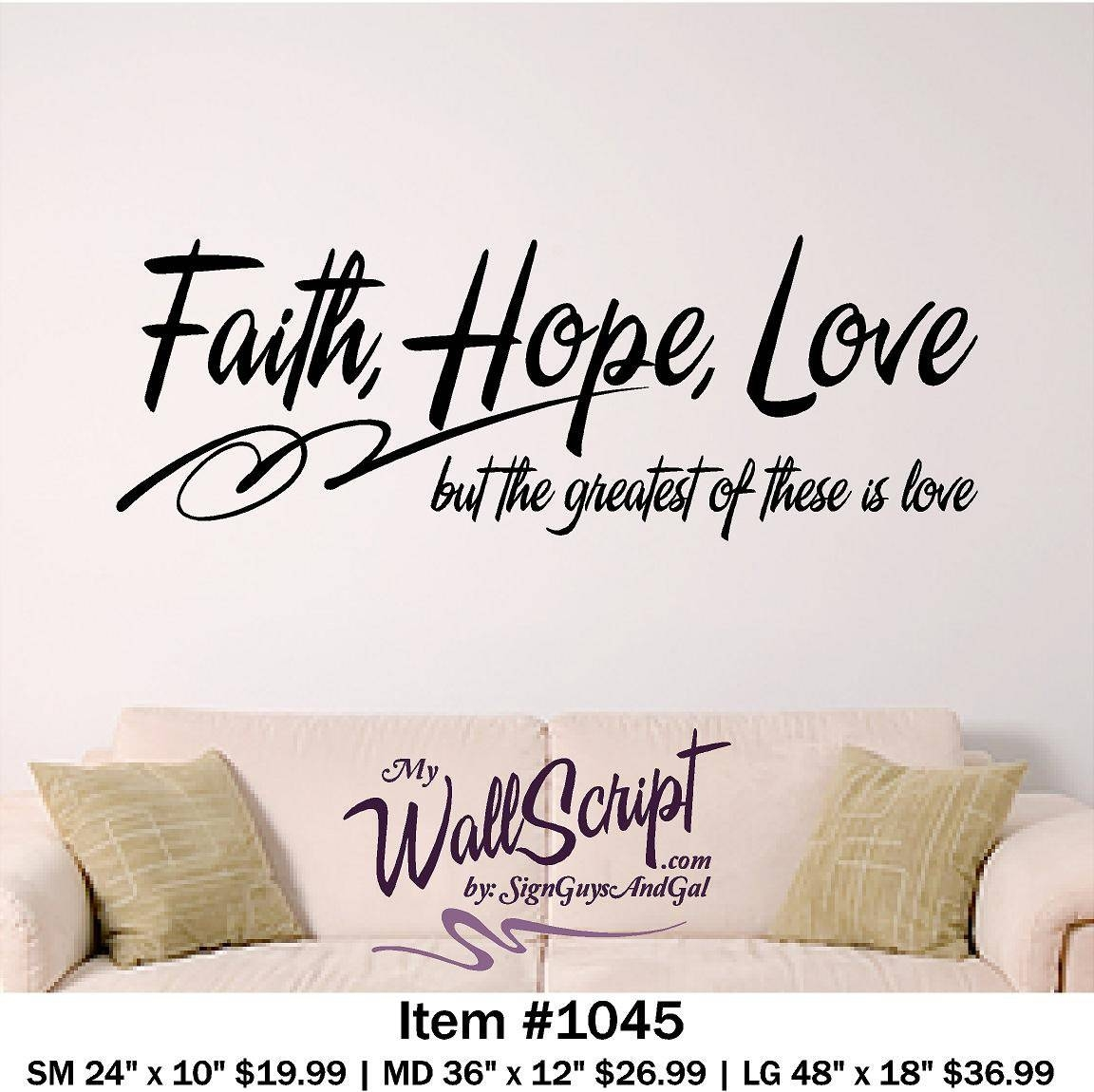 Bible Verse Wall Art Faith Hope Love Wall Decal Regarding Best And Newest Bible Verses Wall Art (Gallery 2 of 30)