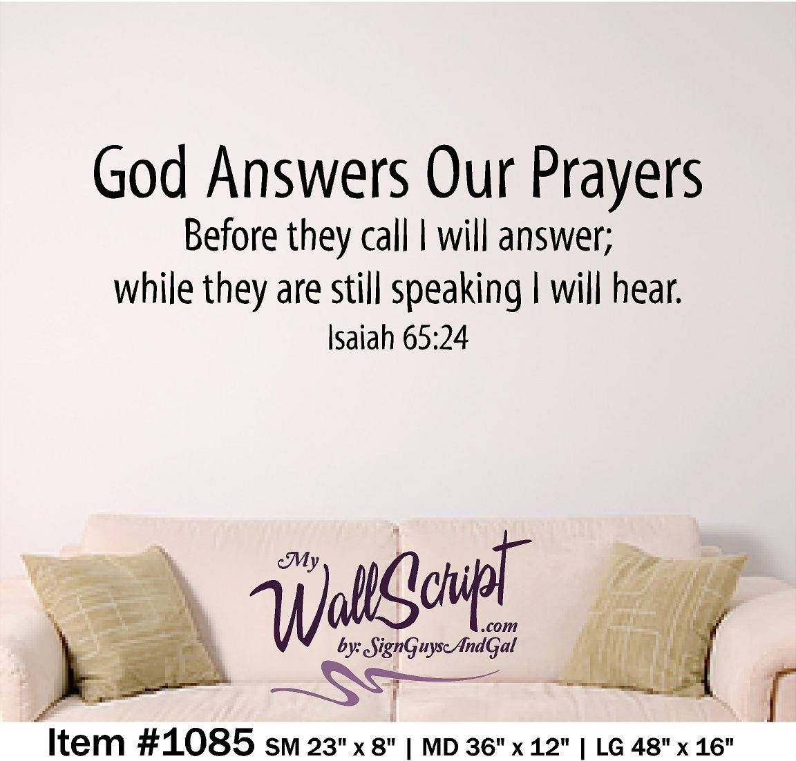 Bible Verse Wall Art God Answers Our Prayers Wall Graphic Intended For Recent Bible Verses Wall Art (View 9 of 30)