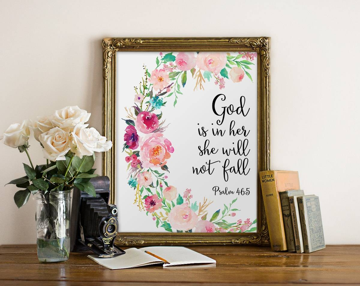 Bible Verse Wall Art God Is In Her She Will Not Fall Nursery With Most Up To Date Bible Verses Wall Art (Gallery 25 of 30)