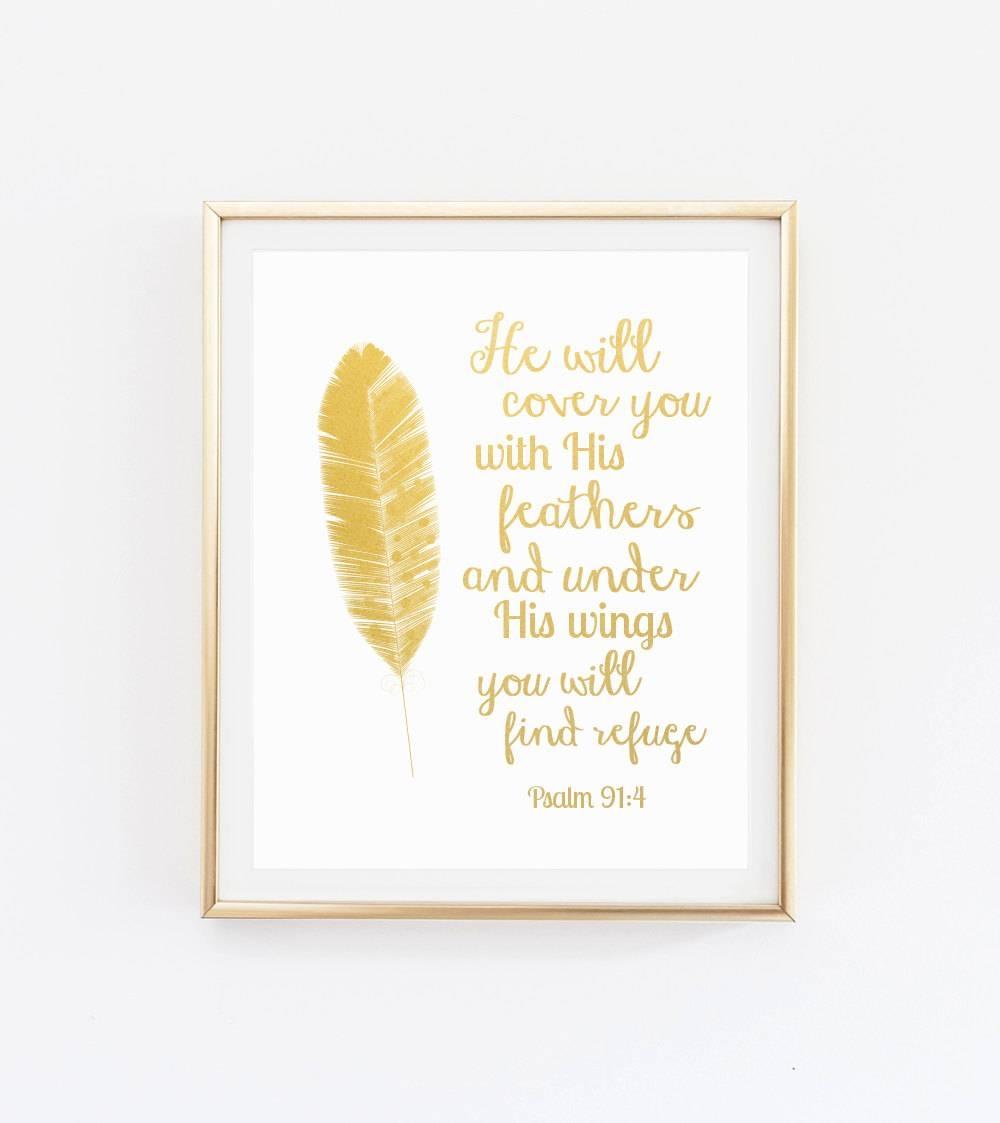 Bible Verse Wall Art Gold Foil Bible Verse Wall Art with Most Recent Bible Verses Wall Art