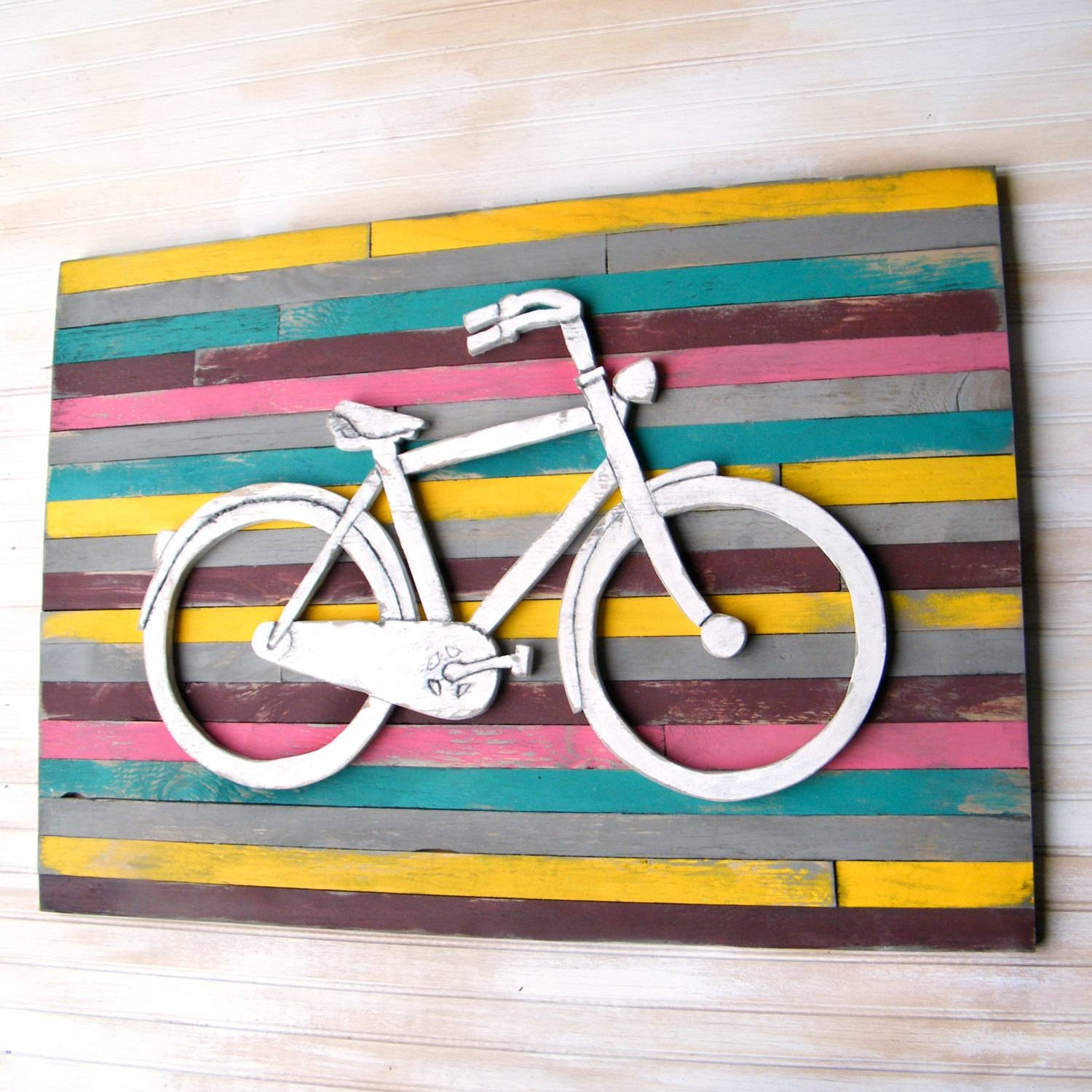 Bicycle Art Pallet Background Large Bicycle Wall Decor Wooden In Most Up To Date Metal Bicycle Art (View 10 of 20)