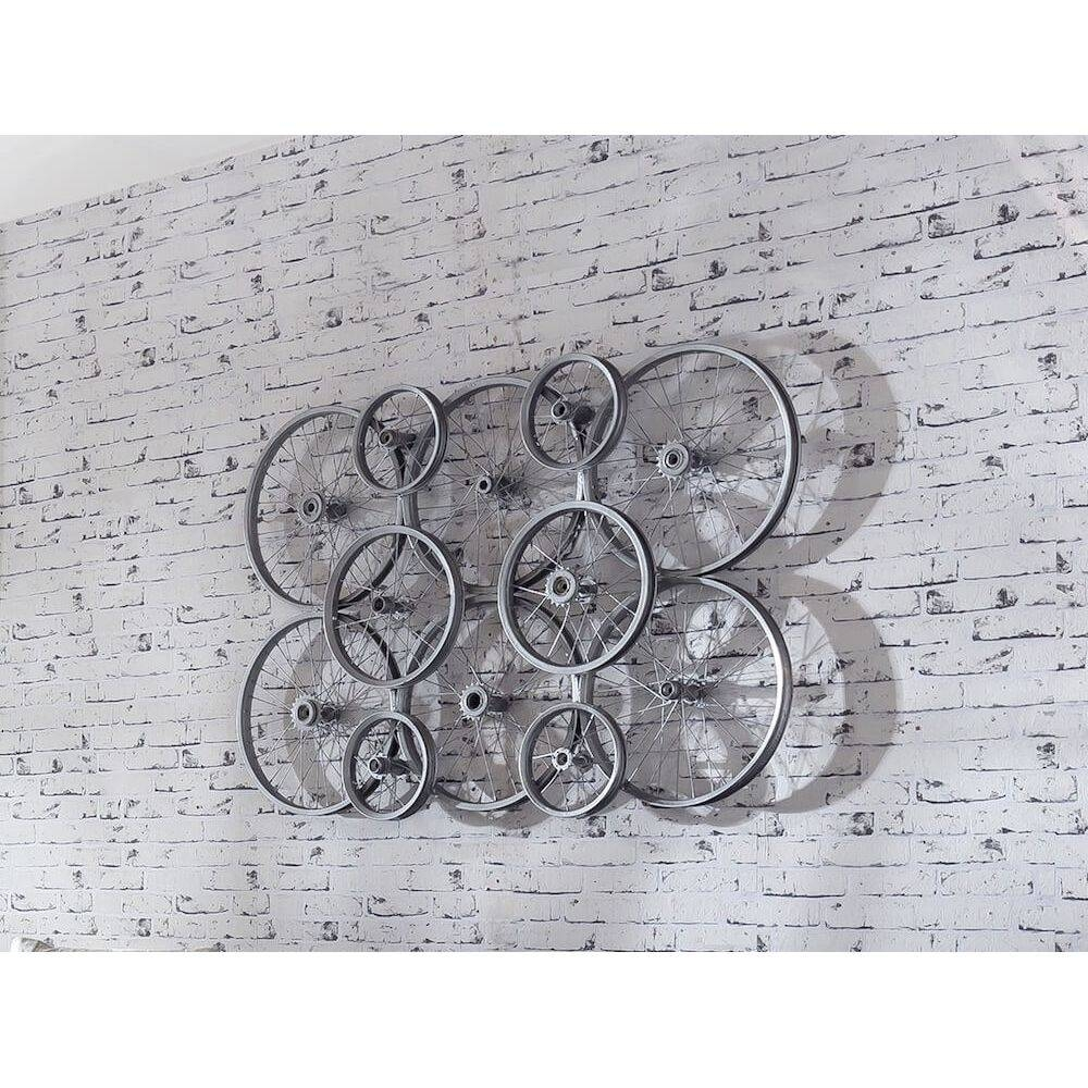 Bicycle Bike Wheels Decoration Signs Recycled Repurposed Art With Regard To 2018 Recycled Wall Art (View 4 of 30)