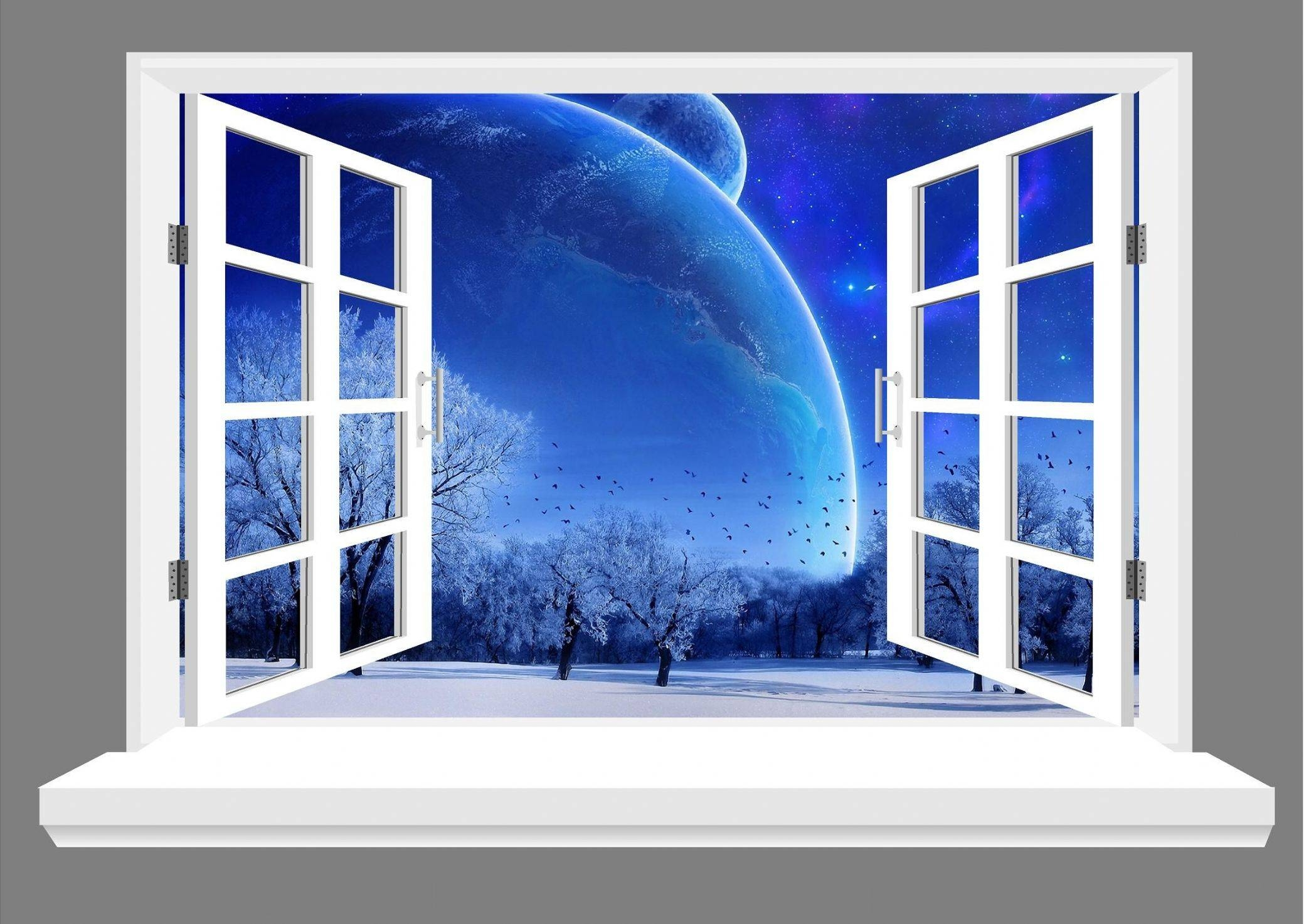 Big Beautiful Moon And Blue Sky 3d Window View Wall Art Sticker Within 2018 3d Wall Art Window (View 9 of 20)