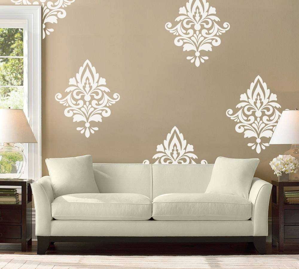 Big Damask Wall Decal Home Decor Damask Pattern Living Intended For Best And Newest Black And White Damask Wall Art (View 7 of 30)