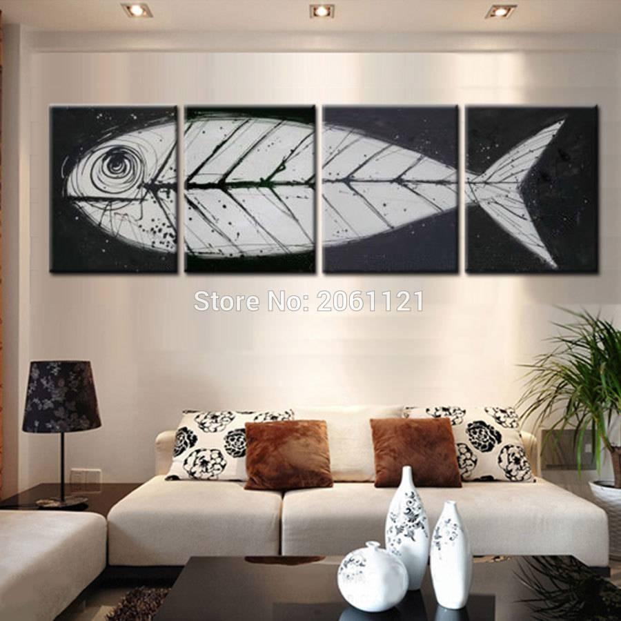 Big Gray Black Pop Art Modern Wall Art Fish Bone Canvas Painting For Recent Fish Bone Wall Art (View 5 of 20)
