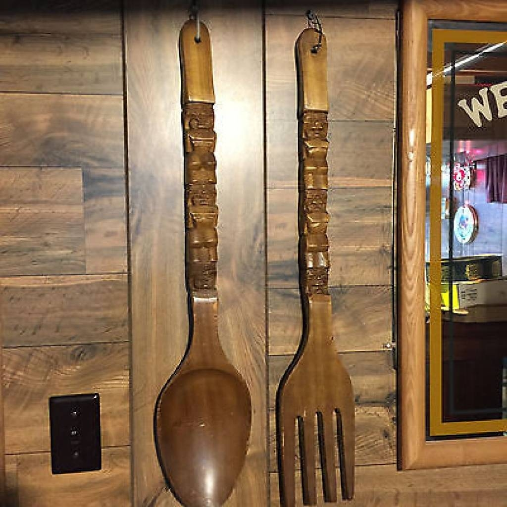 Big Large Tiki Carved Wood Wooden Huge Fork And Spoon Wall Hanging Throughout 2018 Big Spoon And Fork Wall Decor (View 8 of 30)