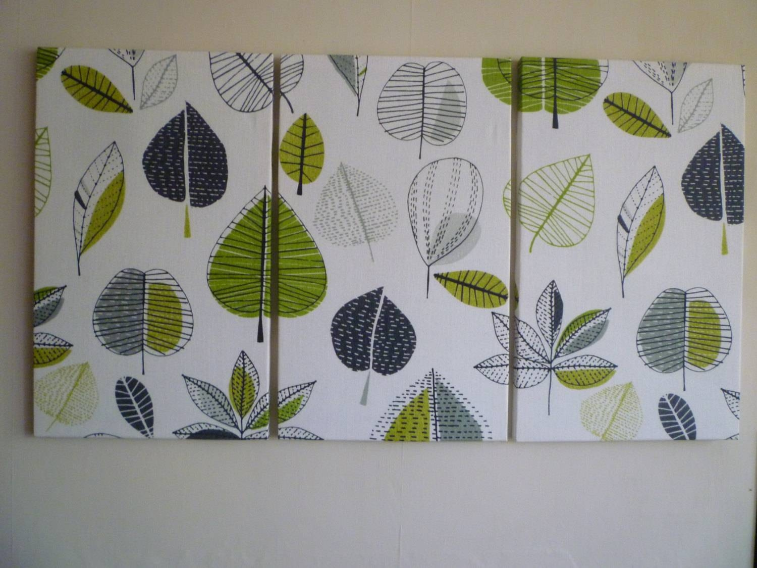 Big Lime Green Fabric Wall Art Funky Retro Designer Cotton In Recent Fabric Canvas Wall Art (View 5 of 20)