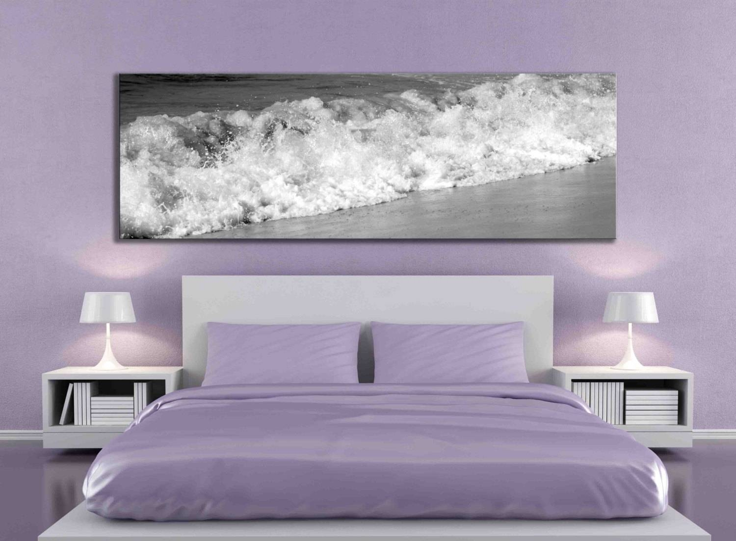 Big Panoramic Black And White Water Beach Ocean Artwork Sand Pertaining To Current Over The Bed Wall Art (View 4 of 20)