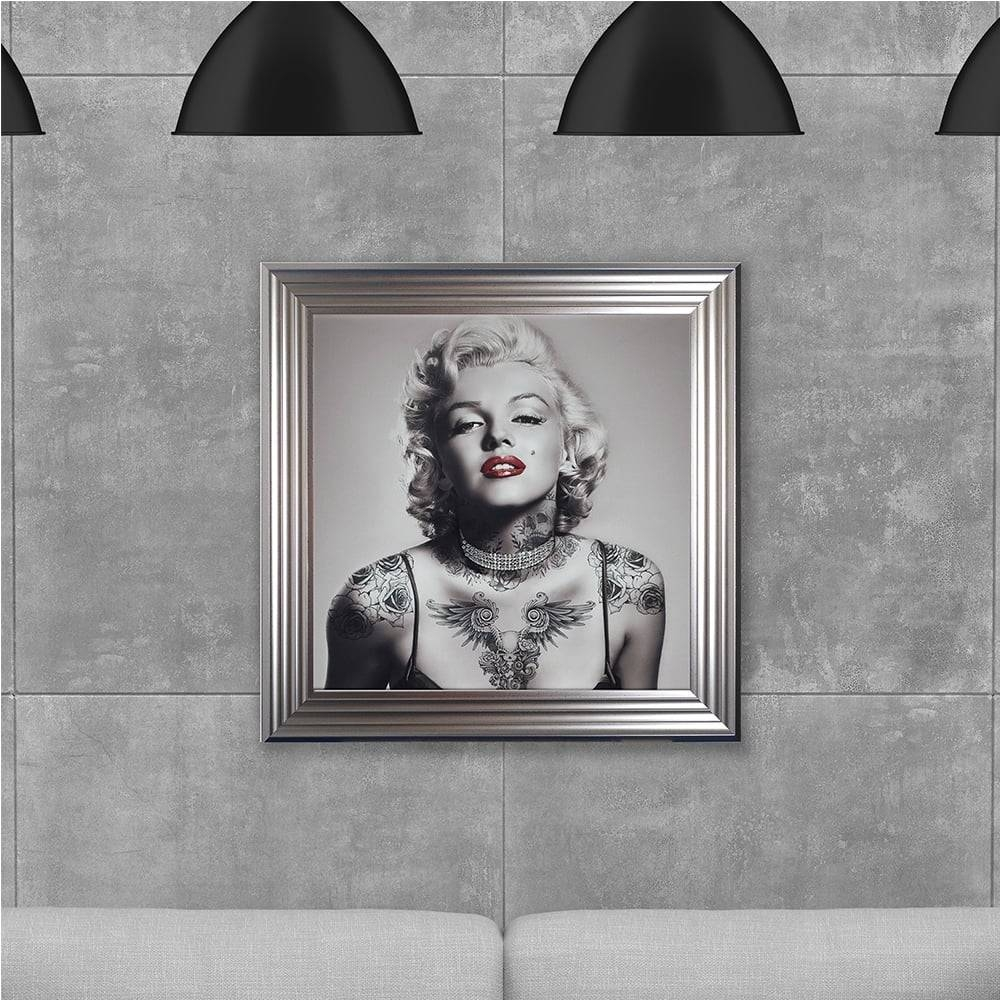 Biggon Marilyn Monroe With Tattoos Made With Liquid Glass And Inside Most Current Marilyn Monroe Framed Wall Art (View 6 of 22)