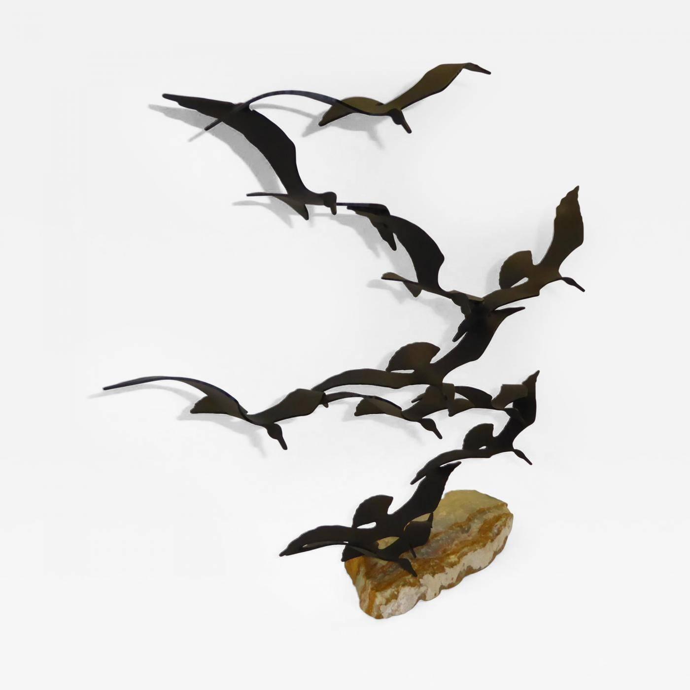 Bijan – Flock Of Seagulls Metal Sculpturebijan, 1970's California In Recent Metal Wall Art Flock Of Seagulls (View 22 of 30)