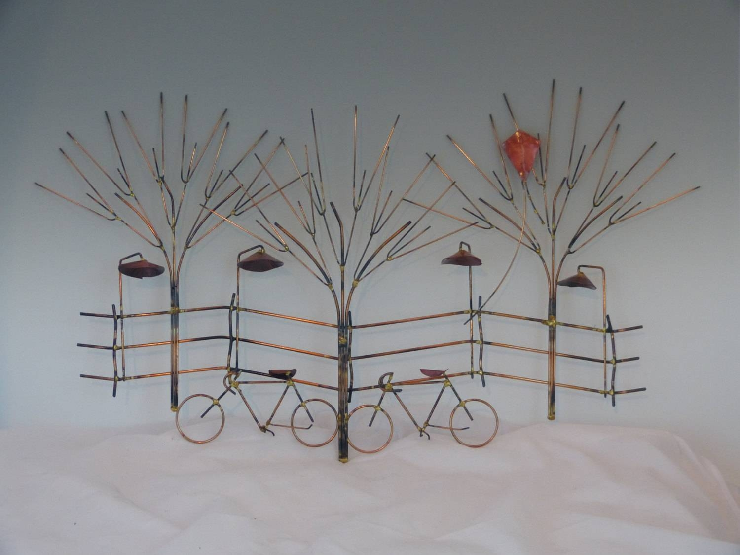 Bikes And Trees Metal Sculpture:bike Wall Decormetal Pertaining To 2018 Tree Sculpture Wall Art (View 14 of 20)