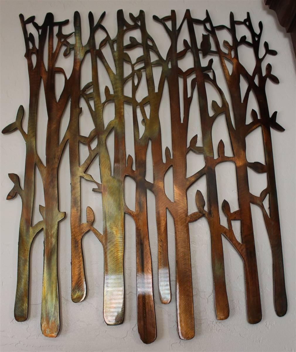 Birch Tree, Birch Tree Metal Art, Bamboo, Bird In The Trees, Bird For Most Popular Metallic Wall Art (View 8 of 25)