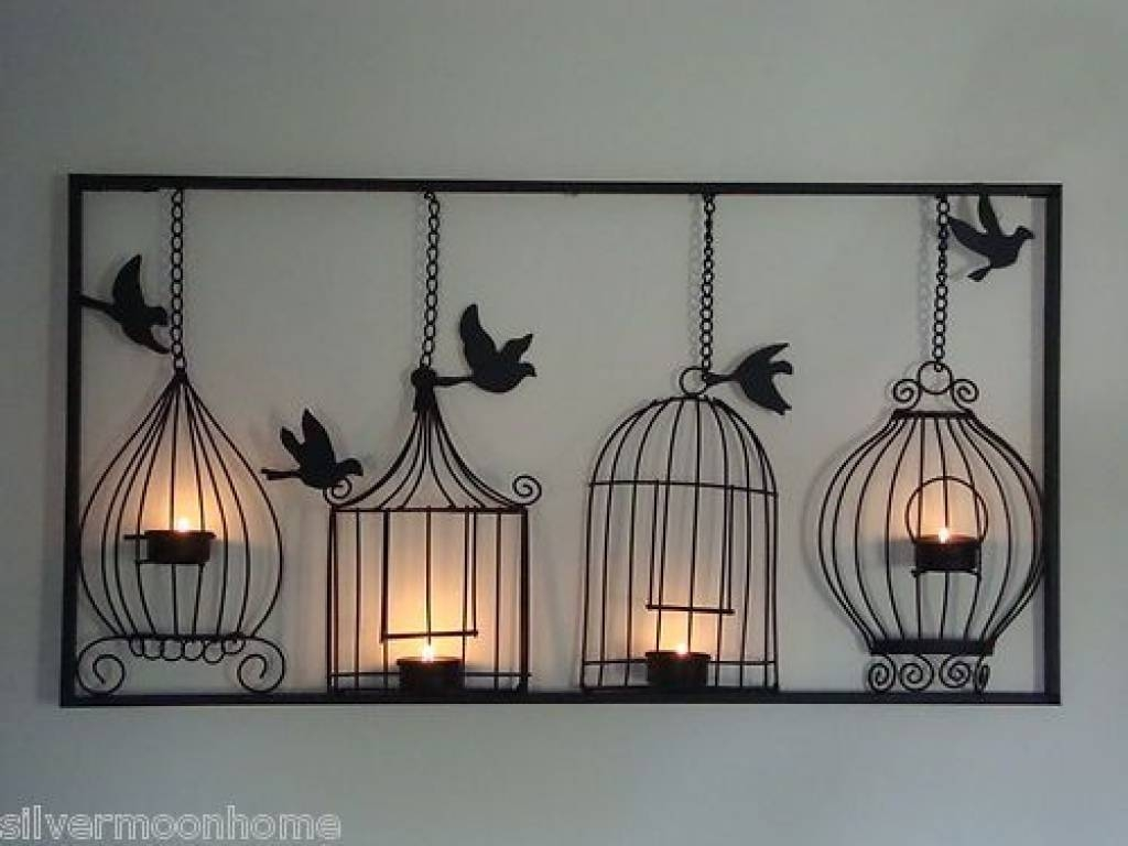 Bird Cage Wall Art, Tea Light Candle Holder, Black Metal, Unusual Throughout Most Popular Unusual Metal Wall Art (View 5 of 20)