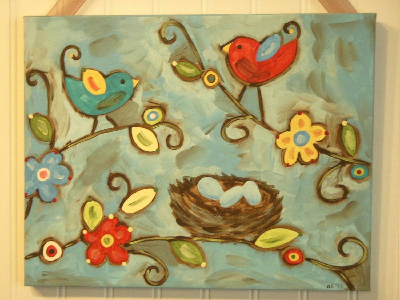Bird Nest Painting Canvas Primitive Folk Art 11 X 14 Original Inside 2017 Primitive Wall Art (View 3 of 30)