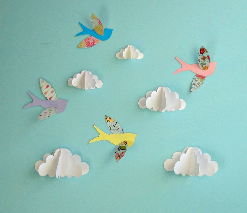 Birds And Clouds 3D Paper Wall Art/ Wall Decor/wall Decals In Most Popular 3D Wall Art With Paper (View 11 of 20)