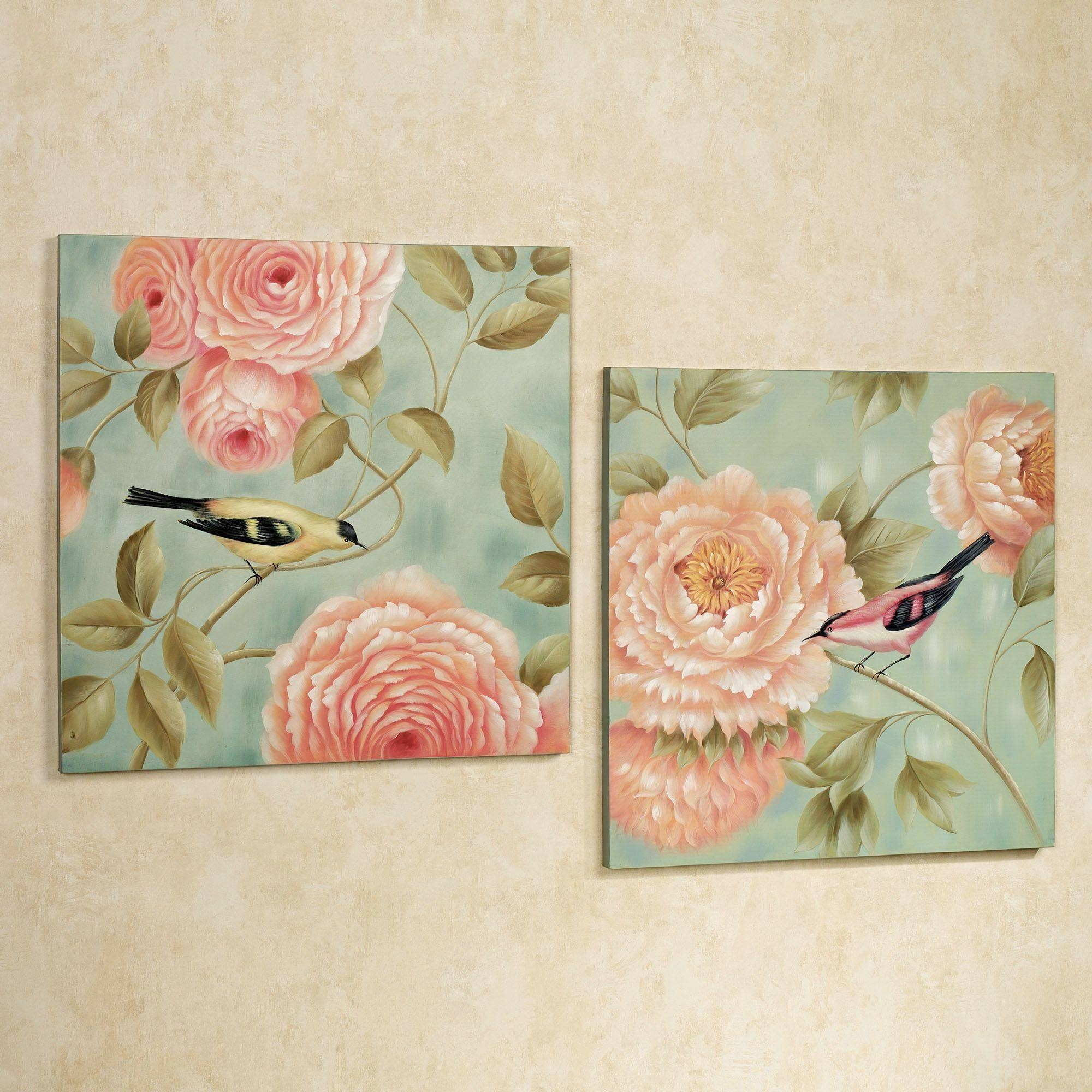 Birds Perchedflowers Canvas Wall Art Set Within Most Recent Pink Flower Wall Art (View 6 of 20)