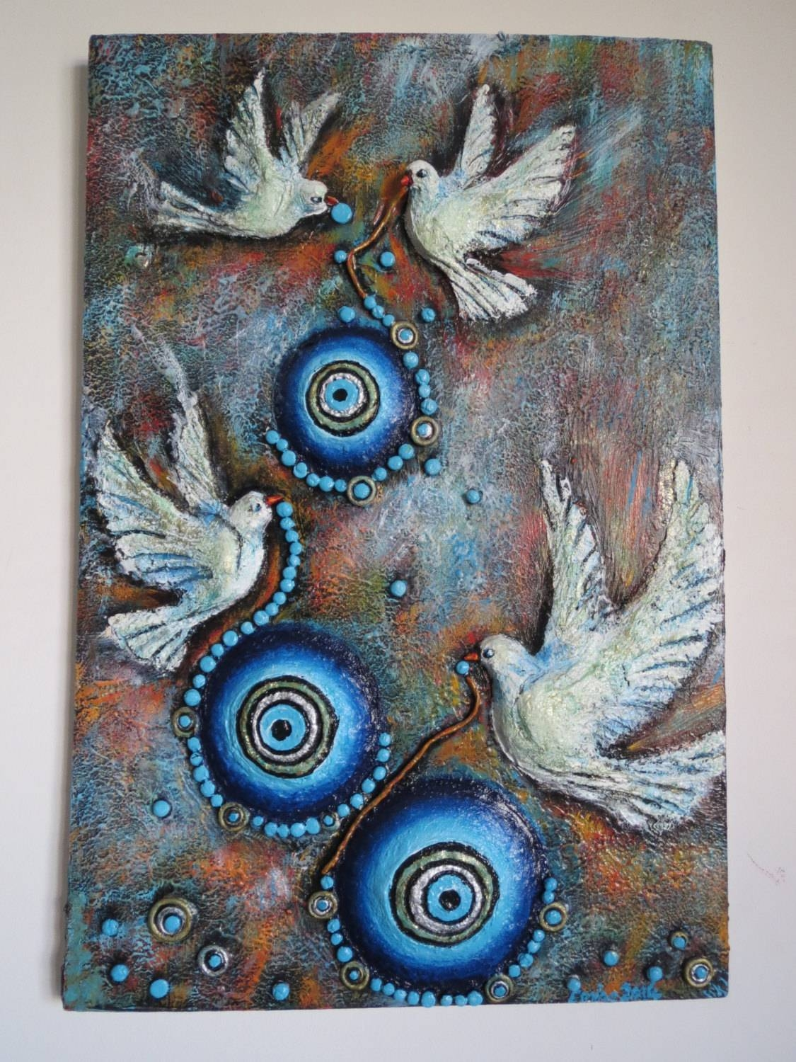 Birds With Beads – 3D Handmade Handpainted Wall Art, Relief Regarding Recent Ceramic Bird Wall Art (View 14 of 30)