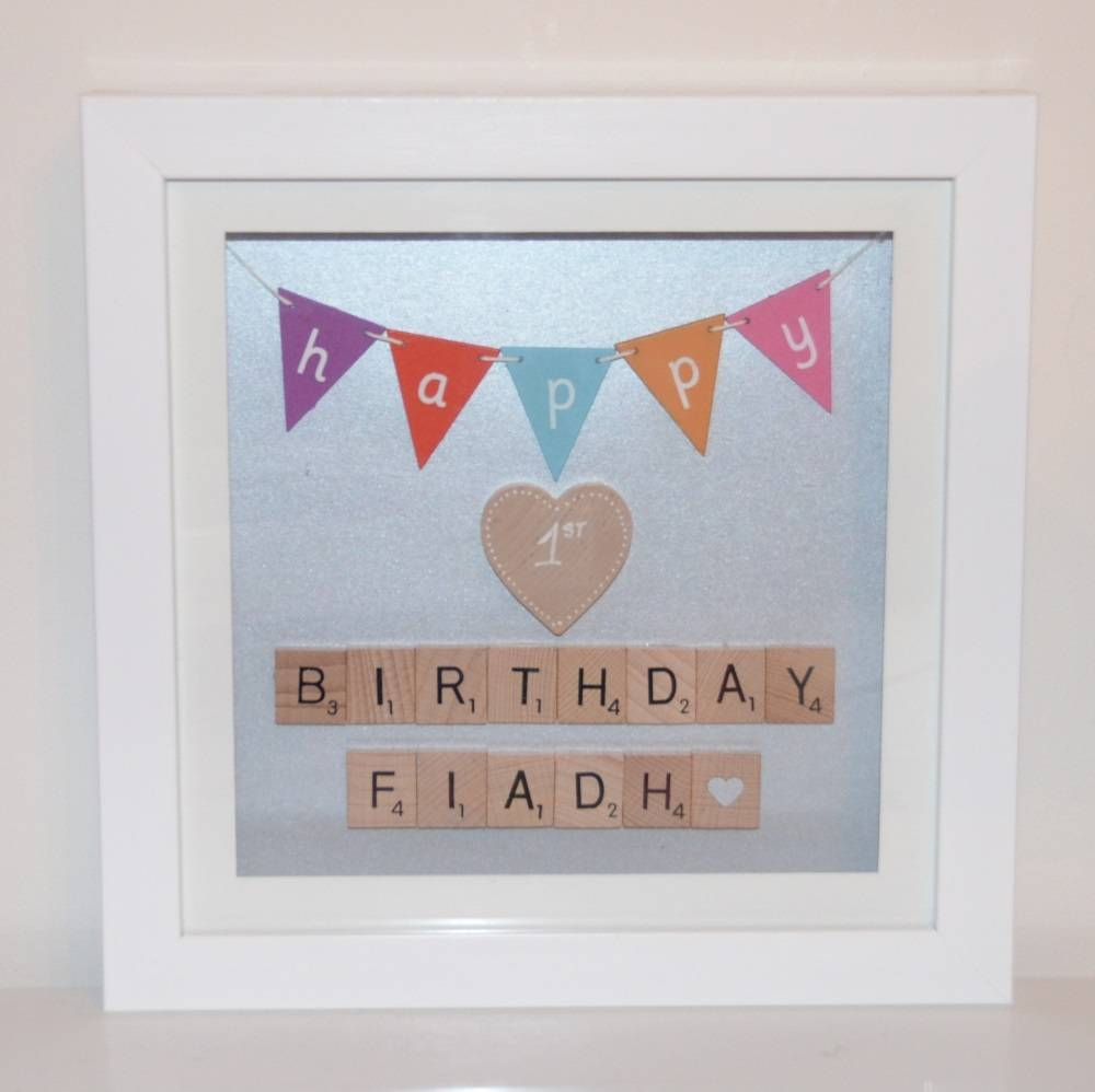 Birthday Personalised Scrabble Wall Art Photo Frame Regarding 2017 Happy Birthday Wall Art (View 3 of 20)