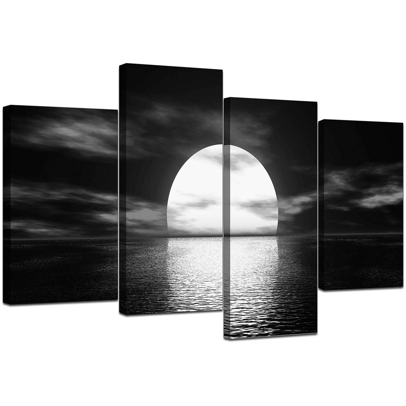 Black And White Canvas – Ocean Sunset Canvas Wall Art Within 2018 Large Black And White Wall Art (Gallery 2 of 20)