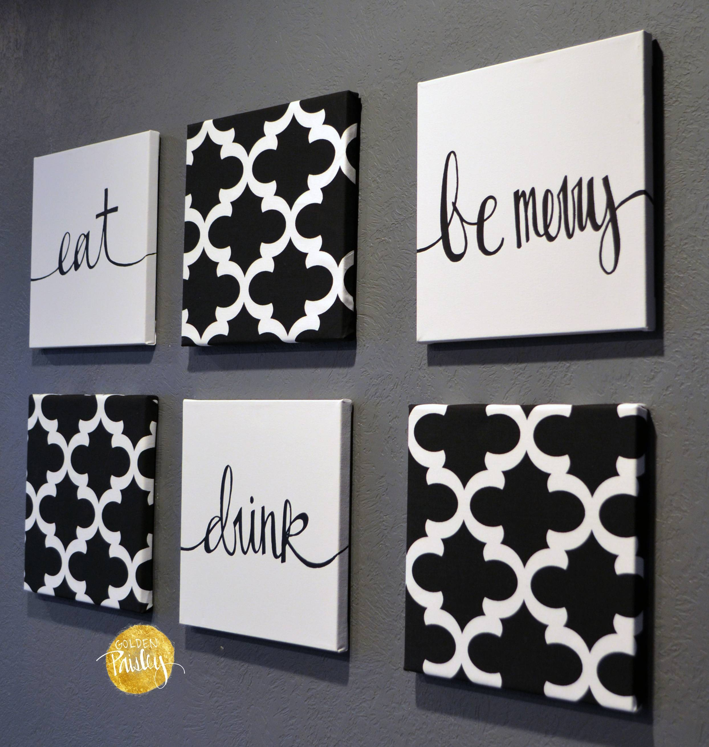 Black And White Moroccan 6 Pack Wall Art Within Best And Newest Black And White Wall Art Sets (View 3 of 20)
