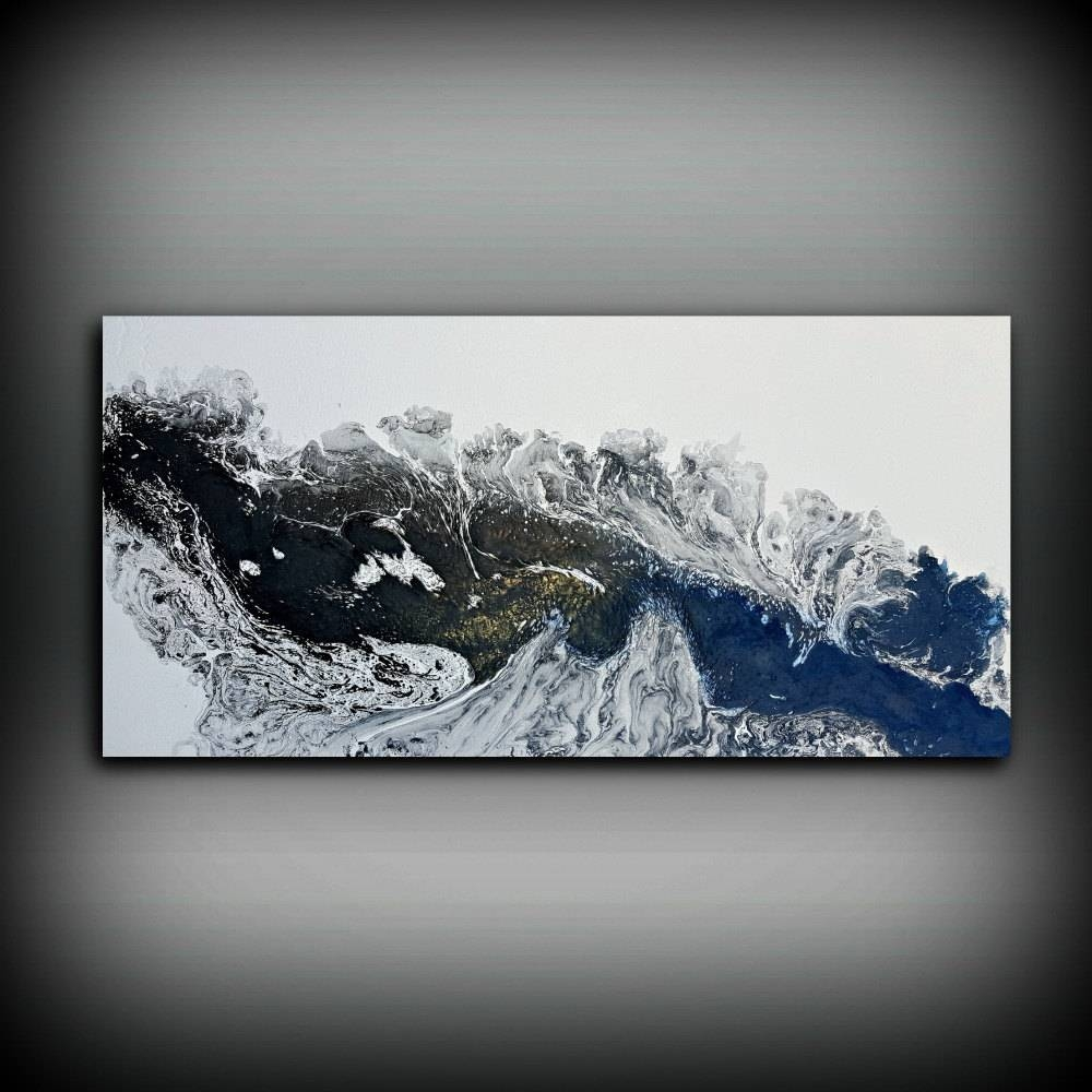 Black And White Painting 24 X 48 Acrylic Painting Canvas Art Pertaining To Current Large Black And White Wall Art (View 3 of 20)