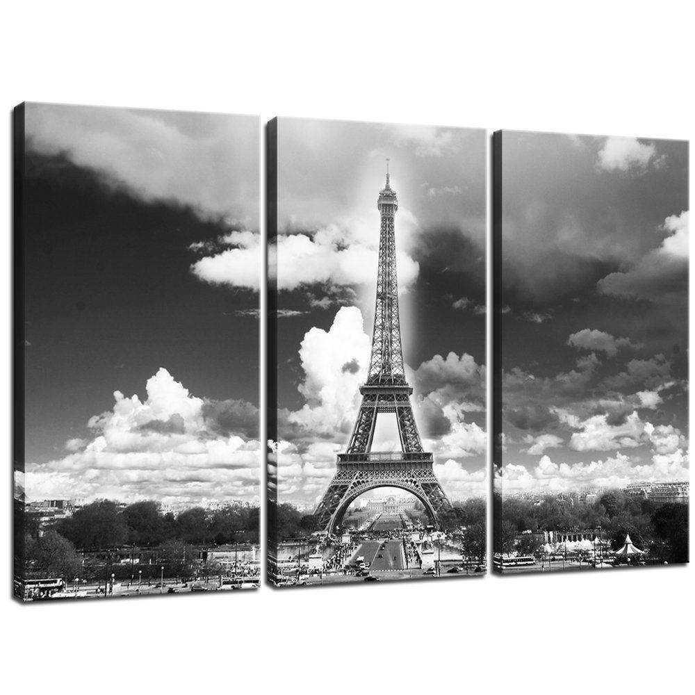 Black And White Paris Eiffel Tower Canvas Prints Wall Art Pictures Pertaining To Current Black And White Paris Wall Art (View 5 of 25)