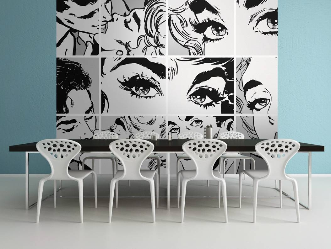 Black And White Pop Art Wall Mural Inside Latest Pop Art Wallpaper For Walls (View 5 of 20)