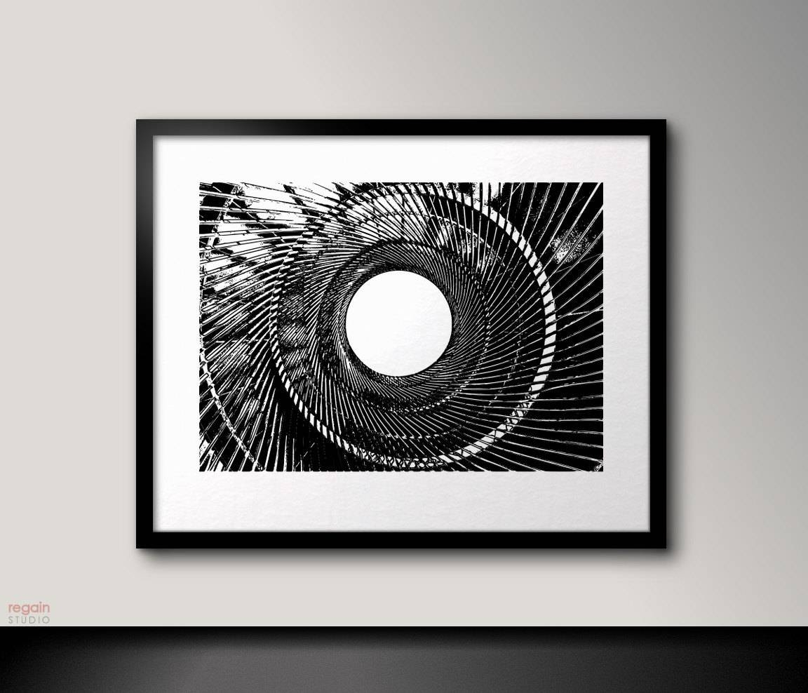 Black And White Printable Wall Artmetallic Spiralindustrial Regarding 2018 Industrial Wall Art (View 2 of 15)