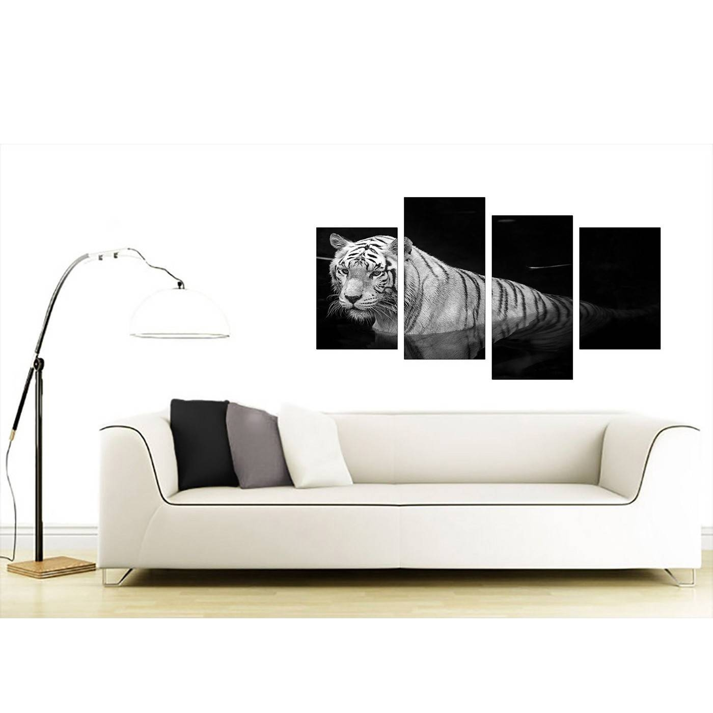 Black And White – Tiger Canvas Wall Art – For Bedroom Throughout Most Recent Black And White Wall Art (View 3 of 16)