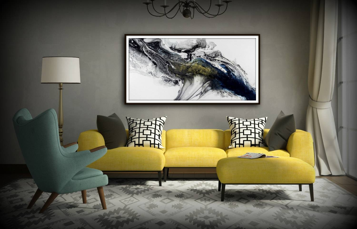 Black And White Wall Art Gift Abstract Painting Print Canvas Inside Most Popular Black And White Wall Art (View 8 of 16)