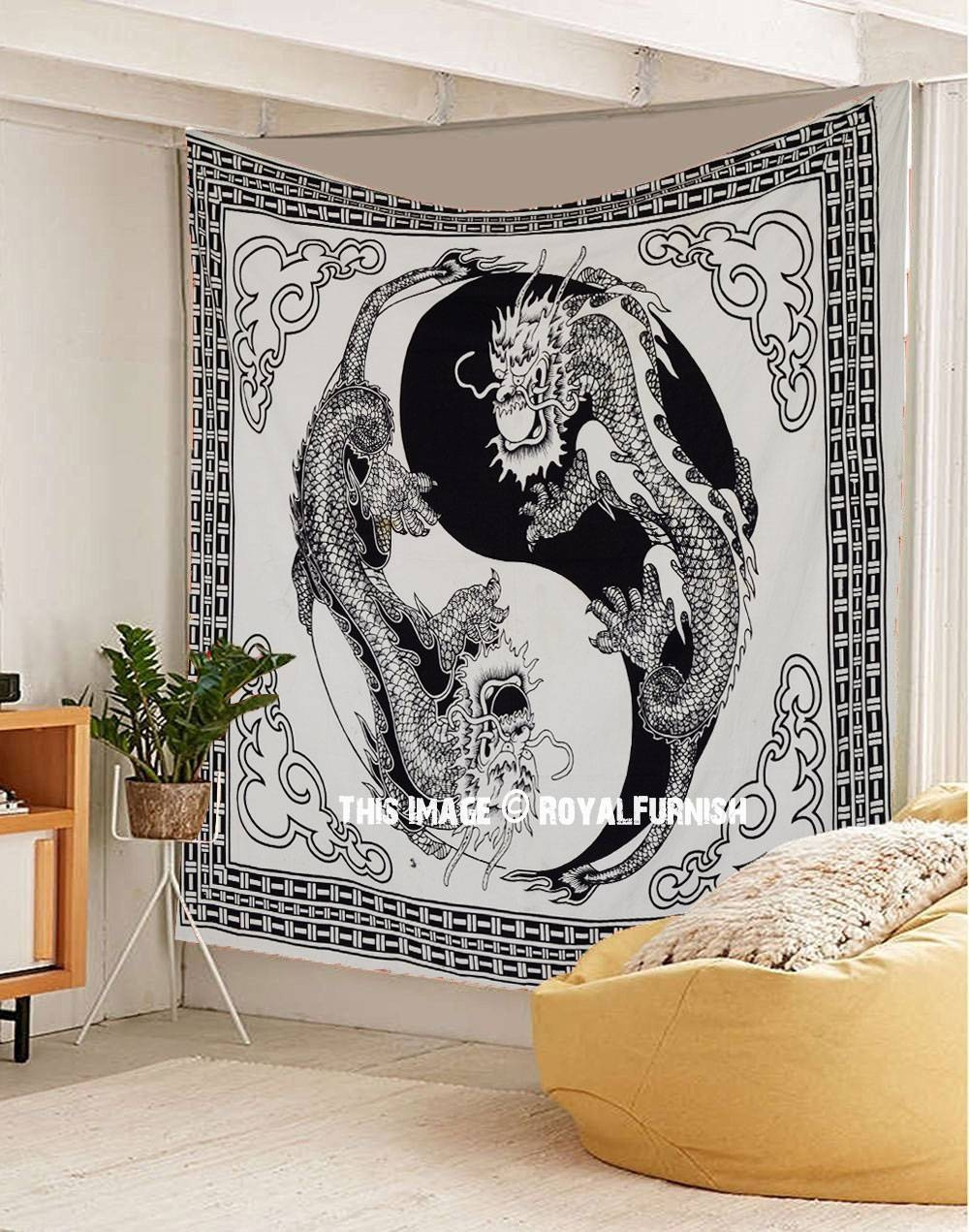 Black And White Yin Yang Chinese Dragon Fly Tapestry Wall Hanging For Most Current Yin Yang Wall Art (View 4 of 30)