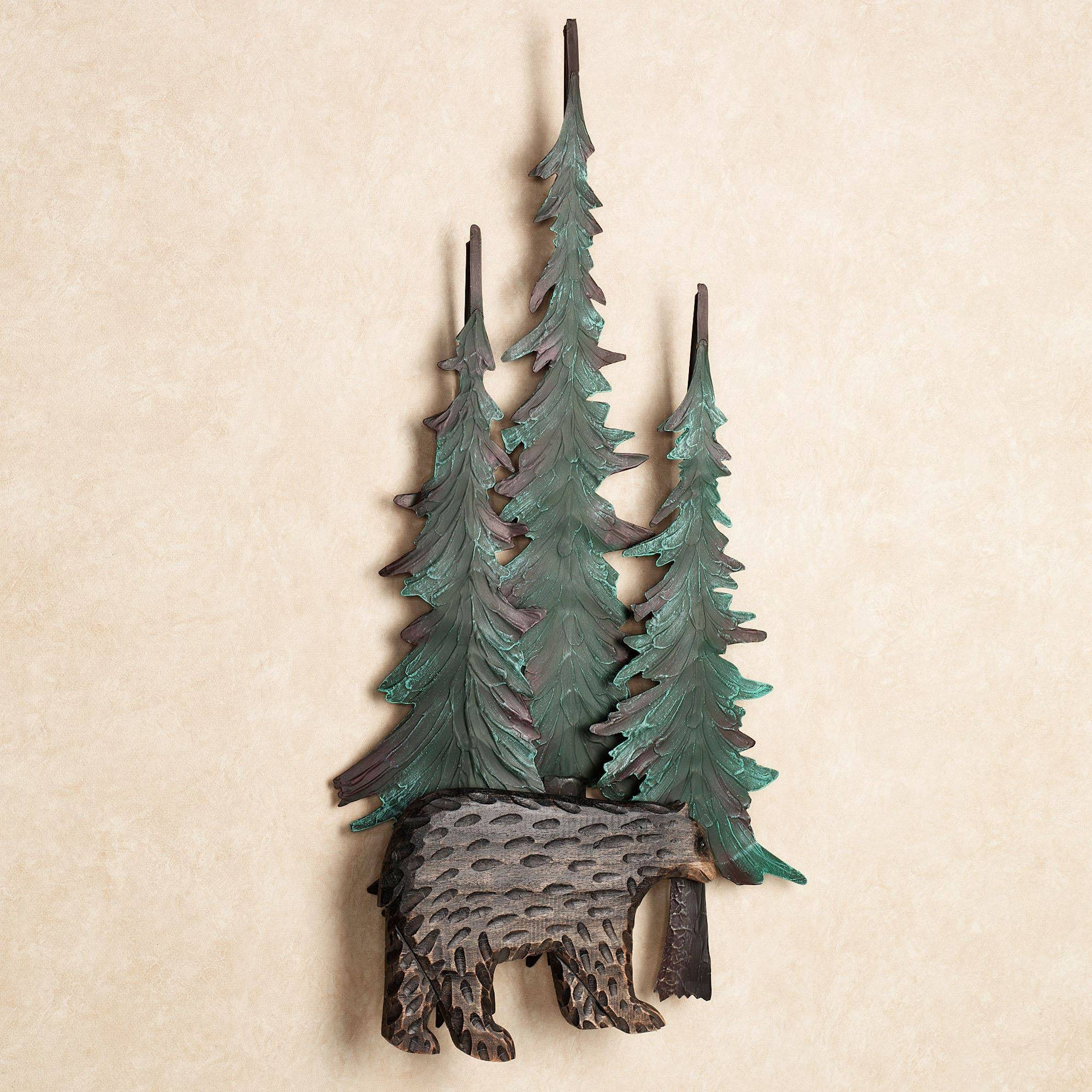 Black Bear In Pines Wall Art Intended For Most Popular Pine Tree Wall Art (View 4 of 30)