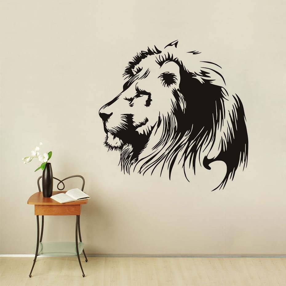 Black Head Of Lion Vinyl Wall Sticker For Kids Room Wall Art Decal Pertaining To Most Recent Lion Wall Art (View 8 of 20)