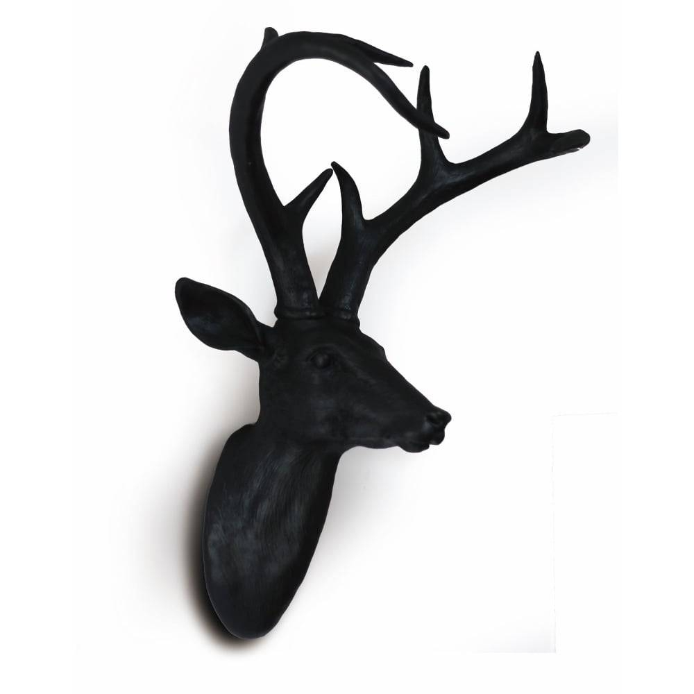 Black Wall Mounted Deer Stag Head Wall Art Hanging Decoration 62 9895E With Regard To Most Up To Date Stag Head Wall Art (View 4 of 20)