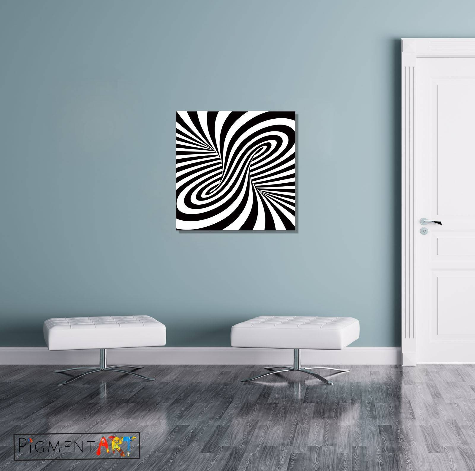 Black White Abstract Optical Illusion Stretched Canvas Wall Art Regarding Latest Illusion Wall Art (View 9 of 20)