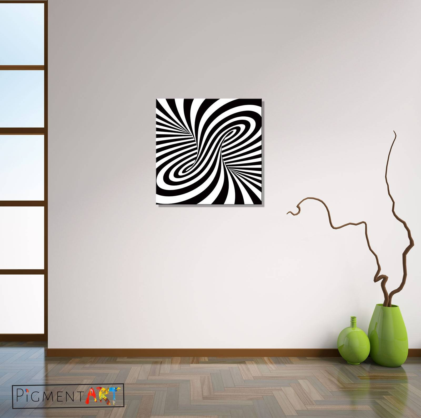 Black White Abstract Optical Illusion Stretched Canvas Wall Art Throughout Latest Optical Illusion Wall Art (View 5 of 20)